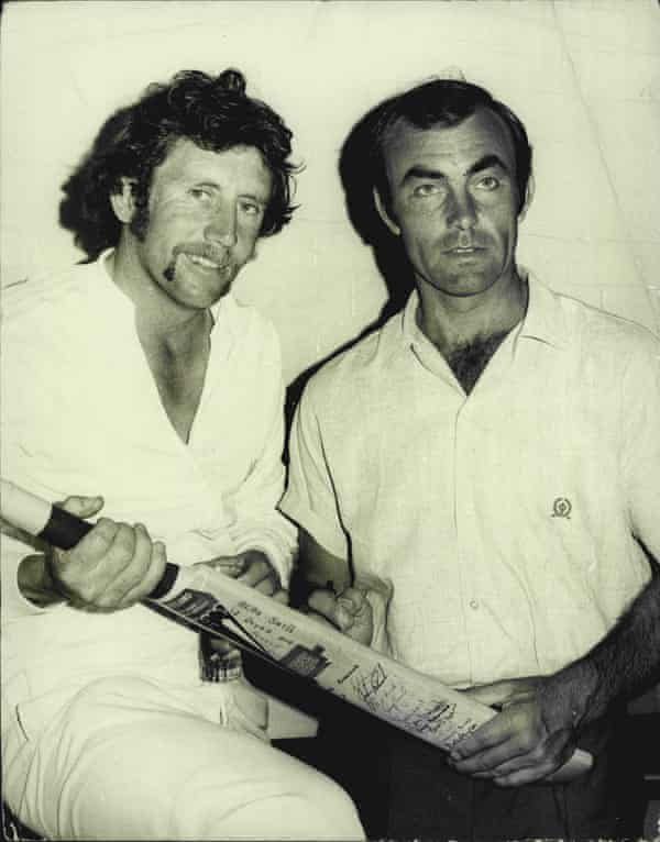 John Edrich, right, with the Australian captain Ian Chappell in 1975.