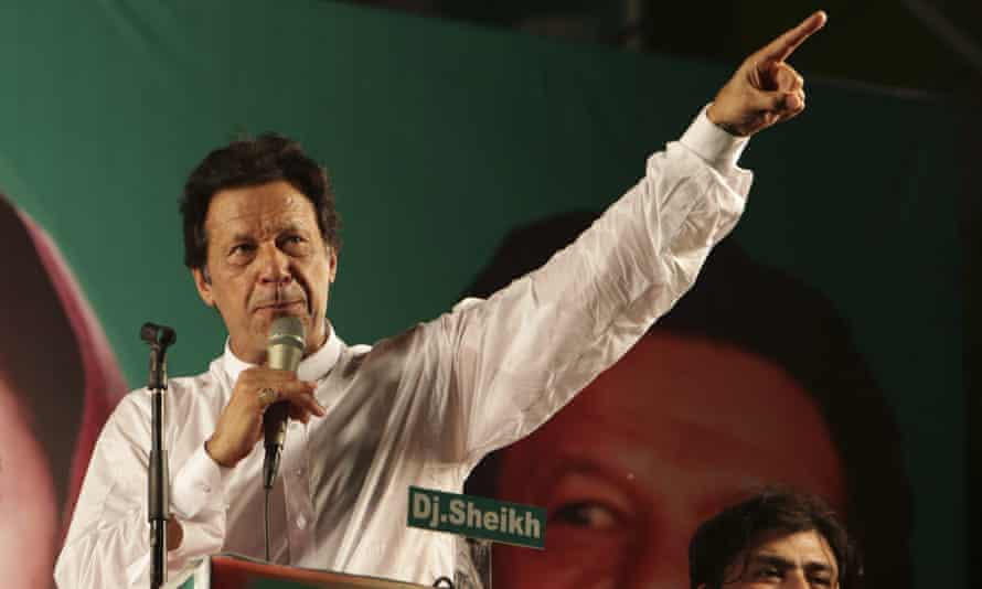 Imran Khan addresses supporters during in Lahore on 23 July.