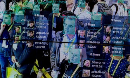 A live demonstration uses artificial intelligence and facial recognition in dense crowd spatial-temporal technology at the Horizon Robotics exhibit at the Las Vegas Convention Center during CES 2019 in Las Vegas on 10 January 2019