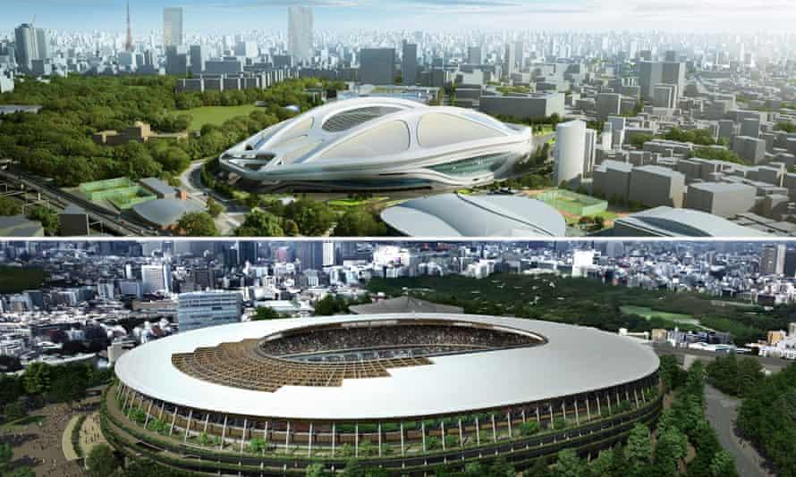 Hadid's original design for the main stadium (top) and the new design.