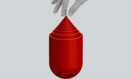 An antidepressant pill getting smaller in a Russian doll style