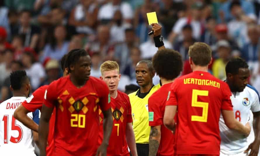 Belgium's Kevin De Bruyne is booked against Panama