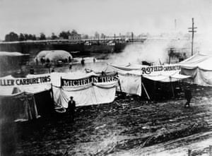 Tents on the infield along pit road for the inaugural running of the Indianapolis 500