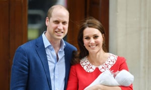 The Duke and Duchess of Cambridge shortly after their Prince Louis' birth.
