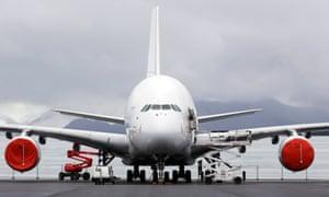 An Airbus A380 aircraft in Azereix near Tarbes, France.