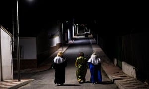 The three Wise Men walking down an empty street on January 05, 2021 in Fuensanta, Spain. Due to Covid-19 security measures, the traditional parade of the Three Wise Man has changed to a house to house visit in Fuensanta, a little town in the province of Granada with less than 300 inhabitants, to maintain the kid's illusion besides all security measures.