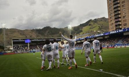 Real Madrid's Cristiano Ronaldo  after scoring against Eibar's Ipurua stadium, in the Basque country.