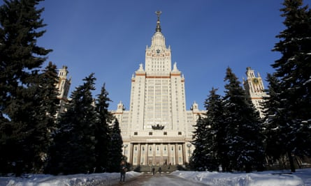 Outside the main building of Moscow State University, where Tikhonova holds a senior position.