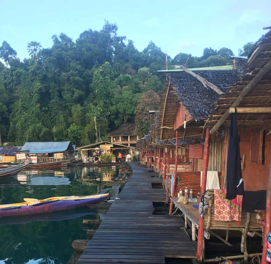 Raft houses on Cheow Lan Lake, Thailand
