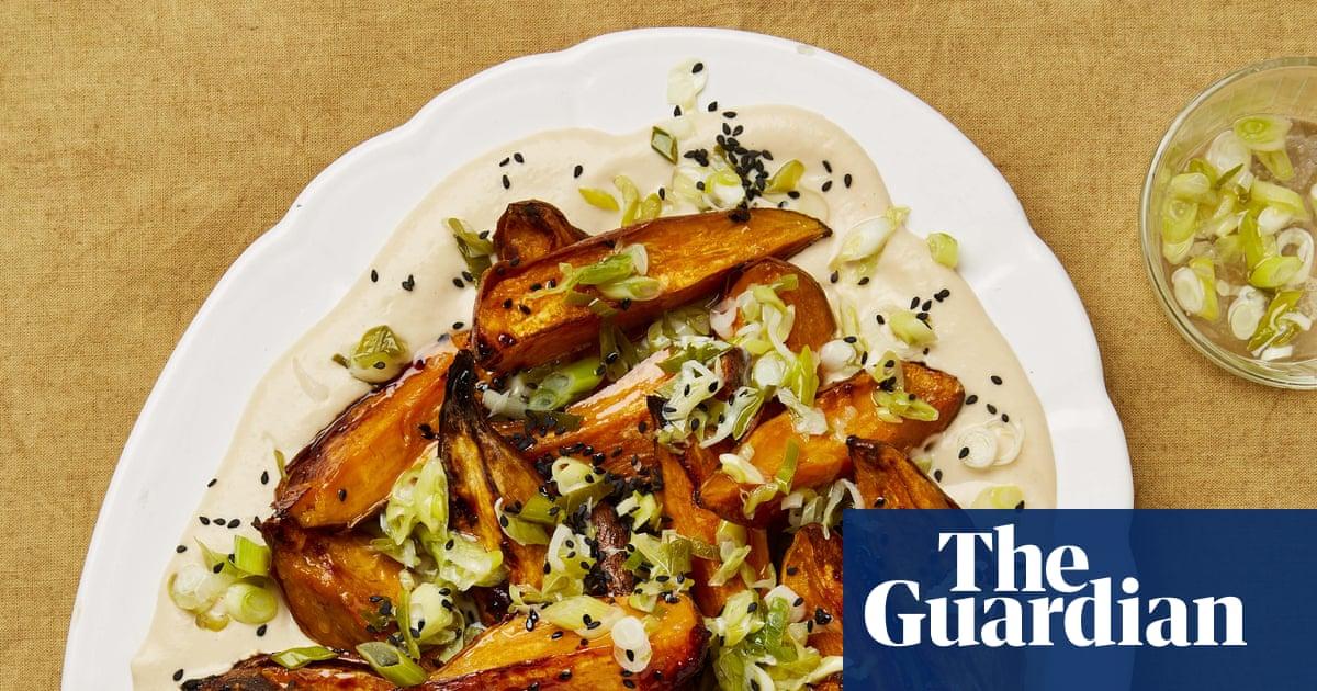 Meera Sodha's vegan recipe for sweet potato, spring onion and miso salad