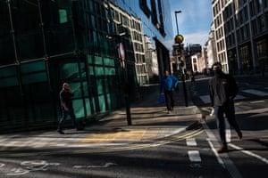 People in near-empty streets, September 2020