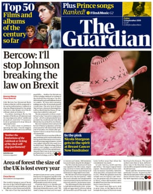 The Guardian, front page, Friday 13 September 2019