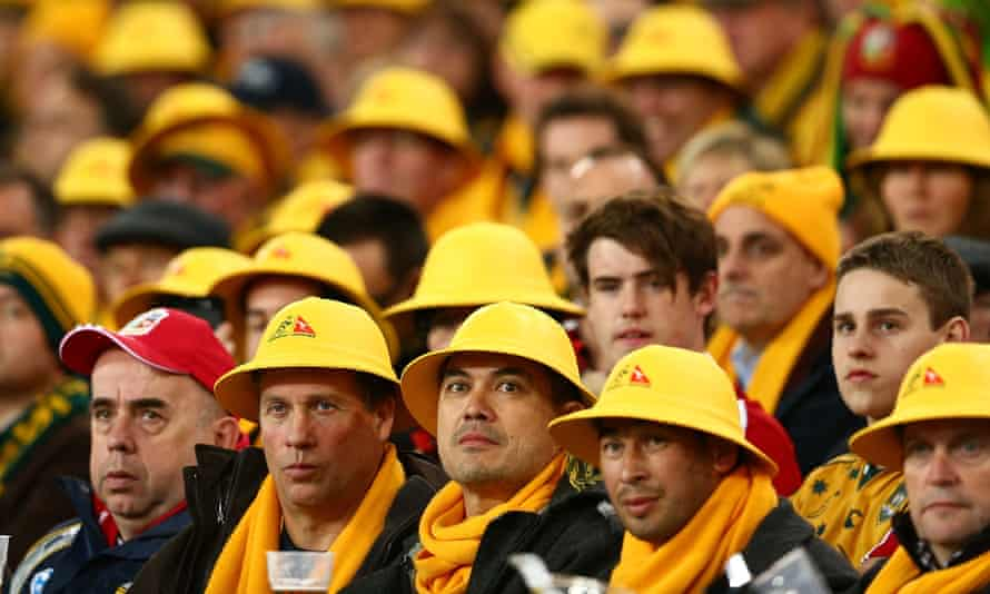 Fans watch the Test match between the Wallabies and British & Irish Lions in Sydney in 2013.