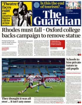Guardian front page, Thursday 18 June 2020