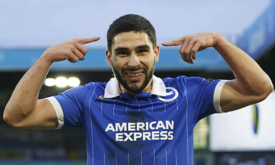 Neal Maupay celebrates scoring what proved the winner for Brighton at Leeds