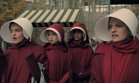 Handmaid chic … Elisabeth Moss, right as Offred in the TV adaptation of Atwood's 1985 novel.
