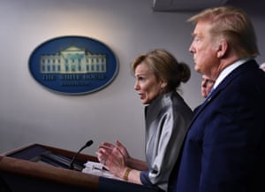 Dr. Deborah Birx speaks as US President Donald Trump looks on during a press briefing at the White House in Washington, DC, on March 16, 2020.
