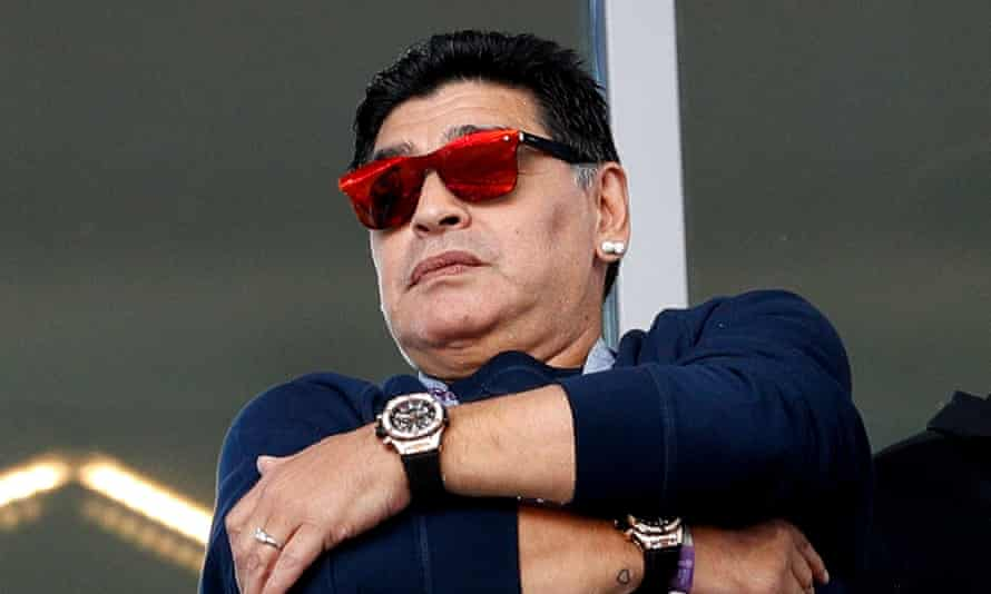 Diego Maradona is pictured at the Spartak Stadium in Moscow, which he attended to watch Argentina's draw with Iceland.