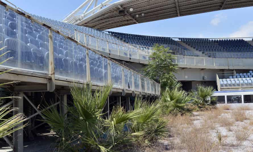 The neglected, overgrown beach volleyball stadium in Athens. Most of the newly constructed stadiums for the 2004 Games now lie abandoned.