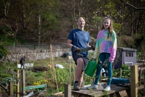 """Rob Ivison with his daughter Charlie. """" I feel very blessed that I have an allotment right now,"""" he says, """"It's given me an outlet that gets me out of the house legally, to do some exercise and to keep my mind on what matters."""""""