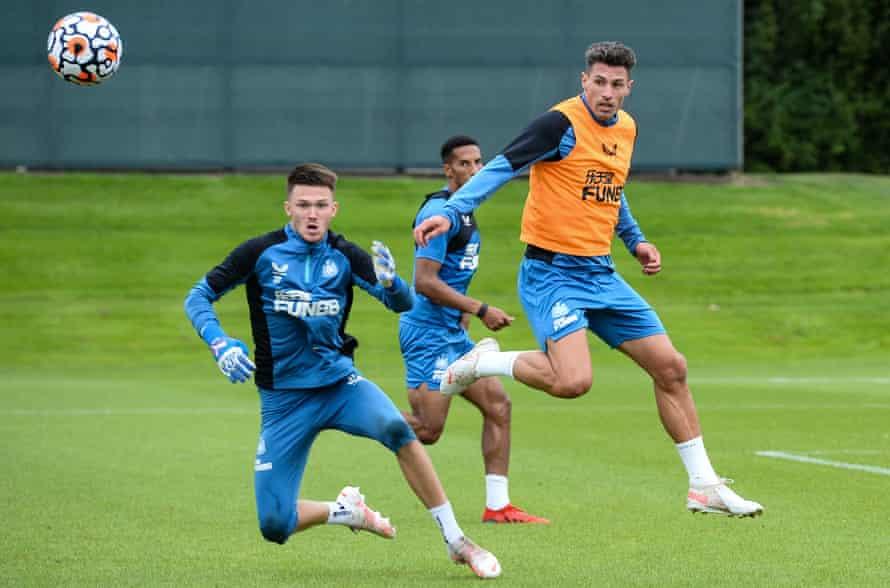 Freddie Woodman (left) will start in goal for Newcastle against Aston Villa.