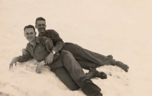 "Photograph 1945, 57 × 81 mm Provenance: US/photo taken in Austria Note: ""Kitzbuhel, Austria, May 1945, Pfc Dariel Burns, Johnny, In the snow up on the Alps-"""