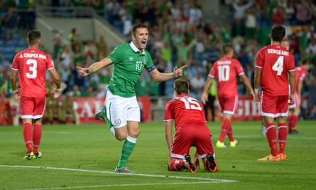 Robbie Keane celebrates after scoring against Gibraltar