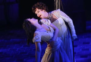 Preview of the Broadway musical The Visit, featuring Michelle Veintimilla and Chita Rivera, at the Lyceum Theatre, New York, March 2015.