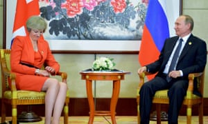 Vladimir Putin and Theresa May.