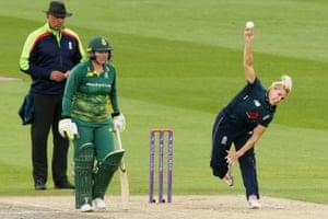 Katherine Brunt of England bowls.