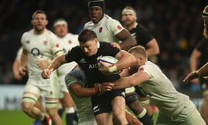 New Zealand's Beauden Barrett is tackled during the defeat of England in November 2018 at Twickenham, Eddie Jones's only match against the All Blacks as England head coach.