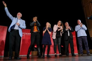 Labour party leader Jeremy Corbyn celebrates on stage after delivering a speech at a campaign rally in Newcastle upon Tyne on Saturday.