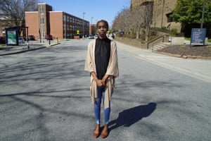 Kylah Guion, a political science major, stands in the middle of Laurel Street in Greensboro, North Carolina. Gerrymandering has cut the campus of North Carolina A&T University in half.
