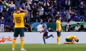 Japan's Gaku Shibasaki celebrates their second goal against Australia.