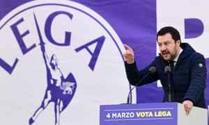 Matteo Salvini at an election campaign rally in Milan in February