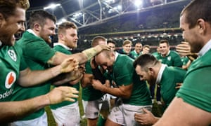 Rory Best is congratulated on his 100th cap