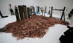 The coins that formed part of Michael Dean's striking installation.