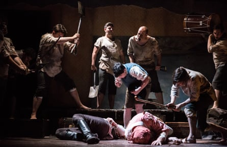 The brutality of battle … Simplicius Simplicissimus, with Stephanie Corley, centre.