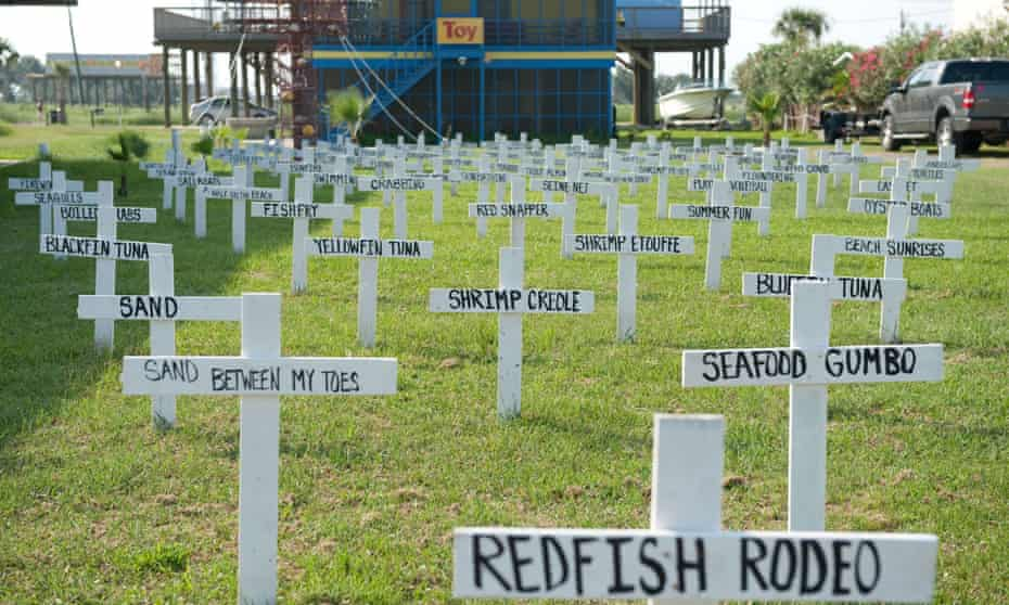In this photo taken on 14 June 2010, crosses with descriptions of fish, wildlife and summer pastimes are displayed in a front yard of a home in Grand Isle, Louisiana, of things potentially lost to the BP Deepwater Horizon oil spill.