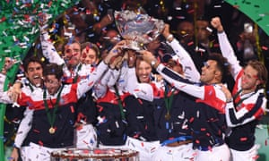 France celebrate winning the Davis Cup in 2017.