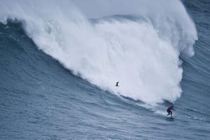 Chilean surfer Rafael Tapia rides a wave during a big-wave surfing session.