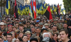 Veterans of the eastern Ukraine conflict are joined by activists and supporters in Kyiv