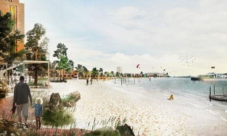 An artist's impression of how Lynetteholm would have looked based on the first proposals in 2018.
