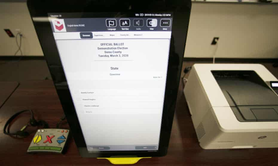 A Dominion voting machine in Georgia. Last month Dominion filed a $1.6bn defamation suit against Rupert Murdoch's Fox News, accusing it of trying to boost ratings by amplifying the bogus claims.