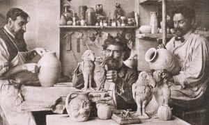 Three of the Martin brothers creating their eccentric menagerie of pottery