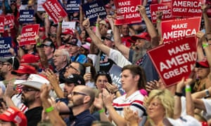 Trump supporters without face masks cheer and applaud in the stands during a rally of US president Donald Trump in Tulsa, Oklahoma, on 20 June, 2020.