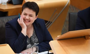 Former leader of the Scottish Conservatives Ruth Davidson reacts during first minister's questions in the Scottish parliament.
