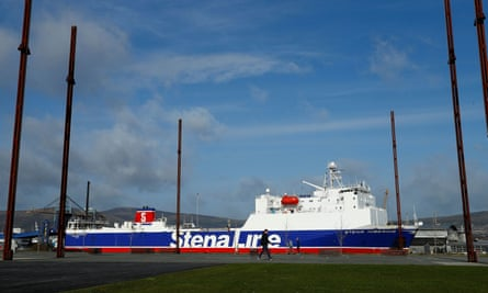 A Stena Line ferry in Belfast harbour