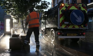 Council workers in Hull disinfect pavements and structures to guard against the transmission of coronavirus.
