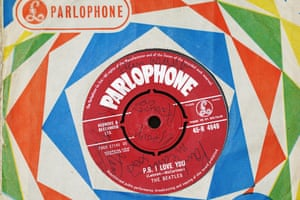 Love Me Do album, signedThe Beatles' first single, signed on the B-side the day after its release, at Dawson's music shop in Widnes, a town on the north bank of the Mersey a few miles from Liverpool, at 4pm on 6 October 1962.Estimate: £15,000-£20,000